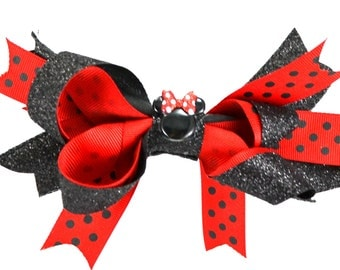 Red and Black Minnie Mouse Hair Bow