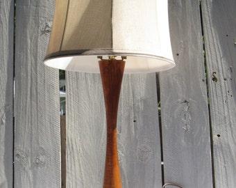 Mid Century Table Lamp, Danish Modern Wood Lamp, Bowling Shape Wood Lamp,  Hourglass