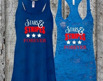 Fourth of July Tank Top//4th of July//Star & Stripes Forever Tank//American Flag Tank Top//America Tank Top//Womens Racerback Tank Top