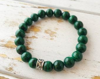 Malachite 8mm Bracelet, Add a Charm, Money Bracelet Beaded Bracelet Gemstone Bracelet Intention Jewelry Yoga Bracelet Mala Beads Jewelry