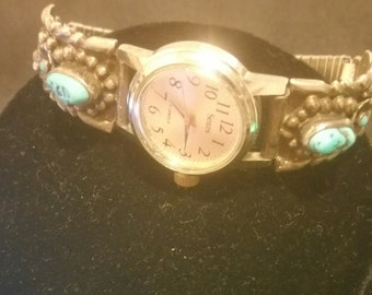 Vintage sterling silver and turquoise watch band with watch face