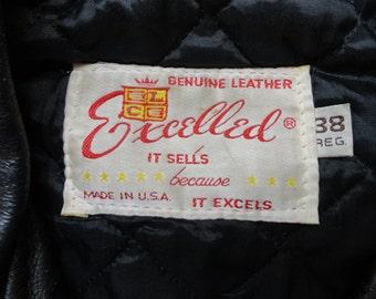 "Vintage Excelled 1970s 1980s black leather biker motorcycle jacket 43"" chest D pocket Ramones rockabilly punk Marlon Brando"