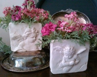 Cherub Florals (pair of 2) Small Wall Planters