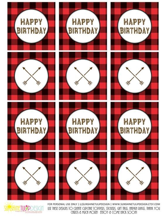 Printable Buffalo Plaid Birthday Camping Birthday Camp