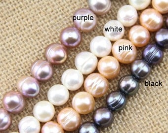 10mm pink pearl bead strand wholesale,freshwater pearl string supply,potato shape,cheap price,China pearl material for making large hole,