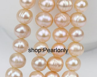 9-10mm pink freshwater pearl strand,potato near round pearl string,white pearls wholesale,large hole pearls 1.0mm,1.5mm,2.0mm,2.2mm,2.5mm