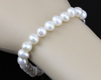 Pearl bracelet for bridesmaids,8mm white freshwater pearl bracelet necklace bridal jewery set,real pearl bracelet,single strand necklace