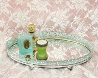 MBS Metalic Green Vintage Vanity Tray, Perfume Tray, Make-up Tray, Filigree Vanity Tray, Mirrored Tray
