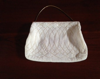 Vintage (1950s) White Beaded Evening Bag