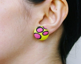 multi-pattern fabric and silver stud earrings