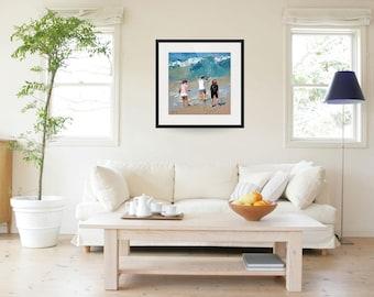 "8"" x 8"", 11"" x 11"", 16"" x 16"", 24""x24"", art print, of my, impressionist painting, 'Braving The Waves'. Seaside Beach Art, Home Decor"