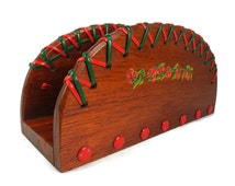 Vintage Handcrafted Wood Napkin Holder Plastic Lacing Thumbtacks Cherry Decals Red Green Rustic Kitchen Camping Picnic Decor