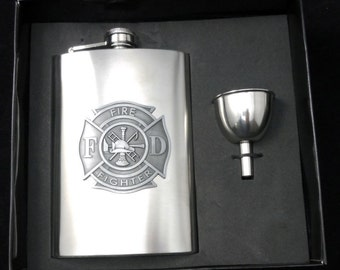 Firefighters Flask & Funnel boxed Set with Free Engraving