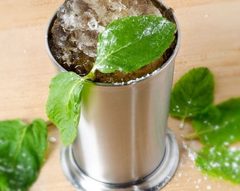 Mint Julep Cup ..Free Engraving,  Brushed  Stainless Steel,  Quality, 11 oz