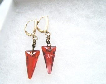 14k gold fill Austrian crystal earrings Red magma spike earrings Valentines gift Red crystal long earrings Gold fill jewelry Wire wrapped