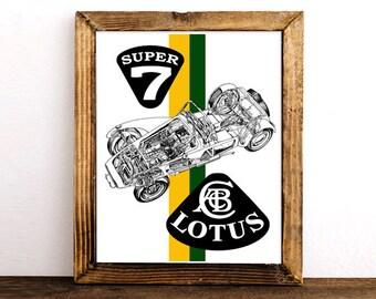 "Lotus Seven Decor, Classic Car, Lotus Cars, Instant Download, Caterham, Classic Car Decor, Automotive Art, Yellow Green Decor, 8x10"", 14x11"""