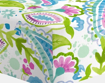 Girl Baby Bedding : Orchid Painted Paisley Crib Sheet by Carousel Designs