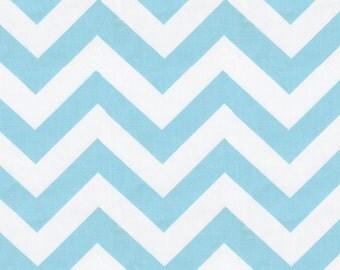 Aqua and White Zig Zag Fabric - By The Yard - Girl / Boy / Gender Neutral