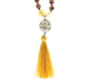Mala: tiger eye, citrine, rudraksha beads and lotus flower made in brass. Handmade