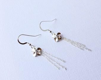 Plumeria Charm Earrings, Silver Plumeria Earrings, Beach Wedding Earrings, Frangipani Earrings, Gifts for Her, Hawaiian Earrings, Plumeria