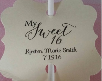 Cake Pop Sweet 16 Favor Thank You Tags Personalized Thank You Cake Pop Gift Tags