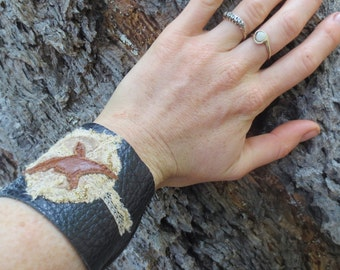 bird in the moonlight black leather wrist cuff bracelet