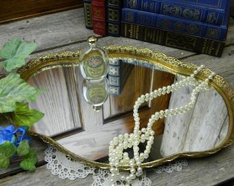 Mid Century Large Vintage Vanity Mirror Dresser Tray Filigree