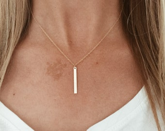 Tiny Single Bar Necklace in Sterling Silver or 14/20 Gold Fill