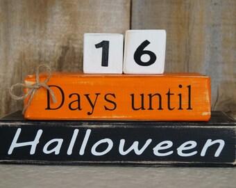 Days until Halloween wood block countdown
