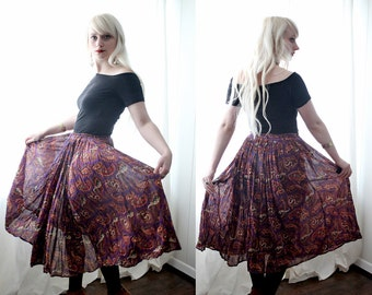 Vintage 1970s stype purple paisley Indian cotton gauze is ethnic drawstring hippie boho skirt