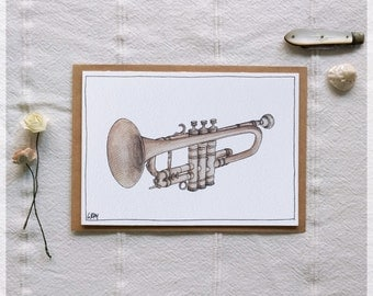 Trumpet ~ Gift Card featuring Watercolour & Ink Illustration