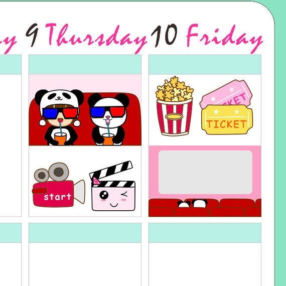 "4x5"" Kawaii Happy Movie Time Label Cenima Planner Planning Cute ..."