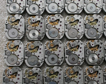 "1/2 x 6/8 "". Set of  65  Vintage Soviet Watch movements , steampunk parts , cuff links supplies , clockwork movements"