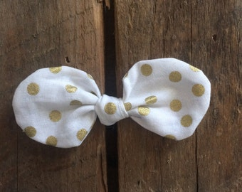 gold dot bow hair clip {ready to ship}
