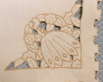 Art deco cutwork tea tablecloth. Ecru cream linen with Madeira embroidery.  Tatted finish to unusual castellated edge. 86 cms square VGC
