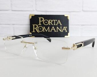 Gold and wood eyewear, Porta Romana 1956 100N eyeglasses, Vintage wood eyeglasses, Gold & black eyeglasses, Vintage eyewear