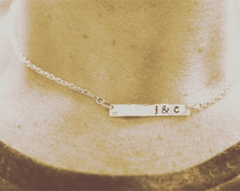 PERSONALIZE THIS: Hand stamped sterling silver bar and chain