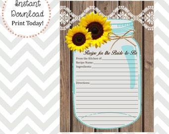 Sunflower Mason Jar Recipe Card DIY Printable