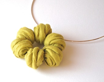 Textile Jewelry-Lime Green MARGARITA Pendant Necklace -Fiber Jewelry-Handmade in Italy Linen Necklace-Boho Wedding Jewellery-Bridesmaid Gift