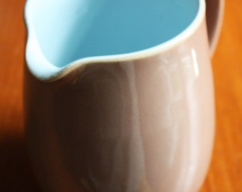 Langley, Milk Jug - Brown and Blue. Derby Pottery
