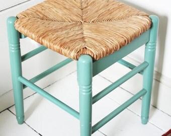 Rush Seated Vintage Wooden Footstool