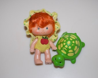 Apple Dumplin Baby Strawberry Shortcake Doll & Teatime Turtle 1979 American Greetings