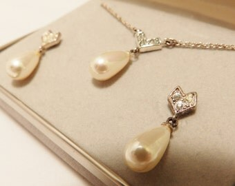 Sterling Silver Faux Pearl and Rhinestone Teardrop Bridal Jewelry Set