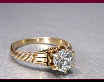 Antique Vintage Victorian 14K Pink Gold Old European Cut Diamond Engagement Ring Wedding Ring - ER 448M