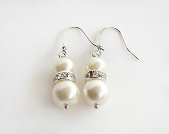 Junior bridesmaid earrings, pearl earrings, little girl earrings, flower girl earrings