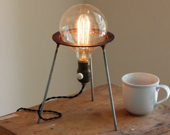 Science gift industrial lamp steampunk desk light chemistry biology space cool vintage laboratory science Edison bulb bunsen stand bedside