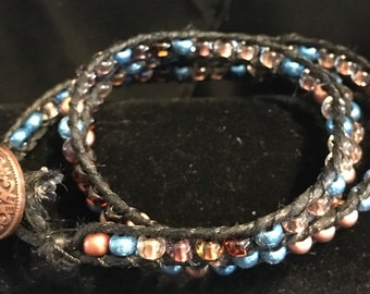 Beaded Wrap Bracelet, Blue and Copper 30