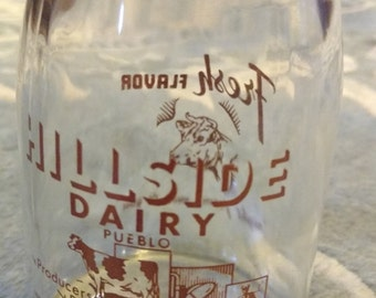 Glass Cottage Cheese Jar, Hillside Dairy, Pueblo, Colorado
