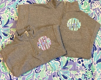 Kids Childs Toddle Youth Monogrammed Applique Quarter Zip Pullover Sweatshirt, Lilly Pulitzer