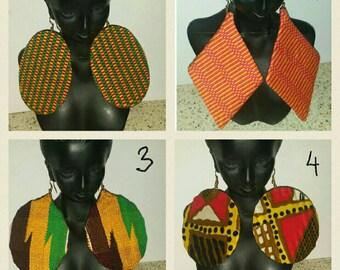 PETIZ Mixed African Print/Kente Large Earrings